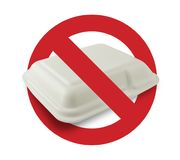 Κιβώτιο αφρού σημαδιών απαγόρευσης σε ένα άσπρο υπόβαθρο, σφαιρική έννοια θέρμανσης Στοκ Φωτογραφία