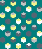 Κιβώτιο γεωμετρίας στο πράσινο άνευ ραφής σχέδιο υποβάθρου Στοκ εικόνα με δικαίωμα ελεύθερης χρήσης