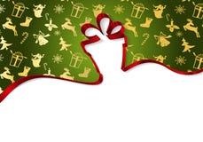 Κιβώτιο δώρων από τις κορδέλλες που απομονώνονται στην άσπρη διανυσματική απεικόνιση υποβάθρου, σύμβολο διακοπών γενεθλίων, Χριστ απεικόνιση αποθεμάτων