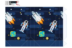 Κιβώτιο δώρων με έναν αστροναύτη και ένα διαστημικό λεωφορείο στην τροχιά απόθεμα απεικόνιση αποθεμάτων