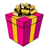 Κιβώτιο δώρων, σύμβολο διακοπών γενεθλίων, ρεαλιστικό σκίτσο απεικόνισης Χριστουγέννων συρμένο χέρι διανυσματικό ελεύθερη απεικόνιση δικαιώματος