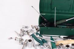 Κιβώτιο με τα εργαλεία κατασκευής που απομονώνονται Στοκ Εικόνες