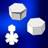 Κιβώτιο με το τεμαχισμένο πρότυπο Κιβώτιο συσκευασίας για τα τρόφιμα, το δώρο ή άλλα προϊόντα Στην άσπρη ανασκόπηση Έτοιμος για τ ελεύθερη απεικόνιση δικαιώματος