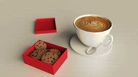 Κιβώτιο μπισκότων με το φλυτζάνι καφέ Στοκ φωτογραφία με δικαίωμα ελεύθερης χρήσης