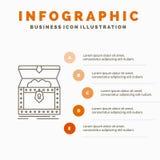 Κιβώτιο, στήθος, χρυσός, ανταμοιβή, πρότυπο Infographics θησαυρών για τον ιστοχώρο και παρουσίαση r διανυσματική απεικόνιση