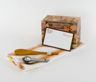 Κιβώτιο συνταγής και κενή κάρτα συνταγής Στοκ φωτογραφία με δικαίωμα ελεύθερης χρήσης