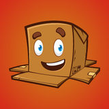 Κιβώτιο συσκευασίας με το χαριτωμένο χαμόγελο Στοκ Φωτογραφίες