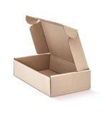 Κιβώτιο του Κραφτ χαρτονιού ανοικτό και που απομονώνεται στο λευκό Στοκ φωτογραφία με δικαίωμα ελεύθερης χρήσης