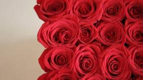 Κιβώτιο των κόκκινων τριαντάφυλλων με την κάρτα δώρων απόθεμα βίντεο