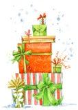Κιβώτιο Χριστουγέννων Απεικόνιση κιβωτίων δώρων Watercolor Υπόβαθρο για τη νέα κάρτα πρόσκλησης έτους διανυσματική απεικόνιση