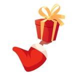 Κιβώτιο δώρων εκμετάλλευσης χεριών αφροαμερικάνων Santas απεικόνιση αποθεμάτων