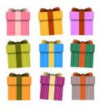 Κιβώτιο δώρων, διανυσματικά παρόντα κιβώτια Στοκ Εικόνα