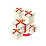 Κιβώτιο δώρων και κόκκινη κάλτσα chistmas ελεύθερη απεικόνιση δικαιώματος