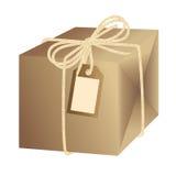 Κιβώτιο δώρων καφετιού εγγράφου που δένεται με τη χρυσή κορδέλλα ελεύθερη απεικόνιση δικαιώματος