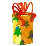 Κιβώτιο δώρων κυλίνδρων Χριστουγέννων Στοκ εικόνες με δικαίωμα ελεύθερης χρήσης