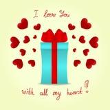 Κιβώτιο δώρων με ένα κόκκινο τόξο στο υπόβαθρο με τις κόκκινες καρδιές Στοκ Εικόνα