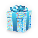 Κιβώτιο δώρων με τα στοιχεία παιδικής ηλικίας: το ποδήλατο, τα λουλούδια, τα μπαλόνια, η βάρκα, η καρδιά, ο ήλιος, τα σύννεφα και διανυσματική απεικόνιση