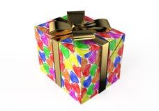 Κιβώτιο δώρων με τις χρωματισμένες καρδιές Στοκ φωτογραφία με δικαίωμα ελεύθερης χρήσης