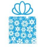 Κιβώτιο δώρων με snowflakes στο λευκό διανυσματική απεικόνιση
