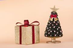 Κιβώτιο δώρων Χριστουγέννων και ένα χριστουγεννιάτικο δέντρο Στοκ εικόνα με δικαίωμα ελεύθερης χρήσης