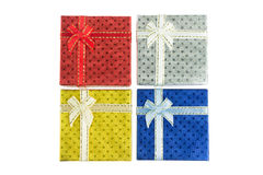 4 κιβώτιο δώρων Χριστουγέννων που τίθεται στην πανοραμική θέα Στοκ φωτογραφίες με δικαίωμα ελεύθερης χρήσης