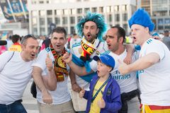 ΚΙΕΒΟ, ΟΥΚΡΑΝΙΑ - 26 ΜΑΐΟΥ 2018: Ο θαυμαστής UEFA FC Real Madrid και η ομάδα ποδοσφαίρου του Λίβερπουλ ενώπιον του τελικού UEFA υ Στοκ Φωτογραφίες