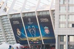 ΚΙΕΒΟ, ΟΥΚΡΑΝΙΑ - 26 ΜΑΐΟΥ 2018: Ο θαυμαστής UEFA FC Real Madrid και η ομάδα ποδοσφαίρου του Λίβερπουλ ενώπιον του τελικού UEFA υ Στοκ Εικόνες