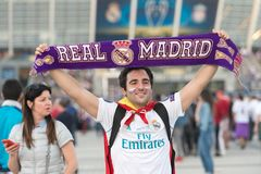 ΚΙΕΒΟ, ΟΥΚΡΑΝΙΑ - 26 ΜΑΐΟΥ 2018: Ο θαυμαστής UEFA FC Real Madrid και η ομάδα ποδοσφαίρου του Λίβερπουλ ενώπιον του τελικού UEFA υ Στοκ εικόνα με δικαίωμα ελεύθερης χρήσης
