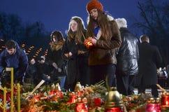 ΚΙΕΒΟ, ΟΥΚΡΑΝΙΑ - 28 Νοεμβρίου 2015: Ουκρανοί τιμούν την μνήμη της μεγάλης πείνας του 1932-1933 Στοκ εικόνες με δικαίωμα ελεύθερης χρήσης