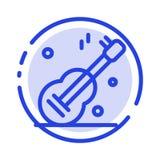 Κιθάρα, μουσική, ΗΠΑ, αμερικανικό μπλε εικονίδιο γραμμών διαστιγμένων γραμμών απεικόνιση αποθεμάτων