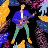 Κιθάρα παιχνιδιού ατόμων μουσικών, φωτεινή επίπεδη απεικόνιση doodle με τον κιθαρίστα και μουσικό όργανο απεικόνιση αποθεμάτων