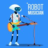 Κιθάρα παιχνιδιού μουσικών ρομπότ και τραγούδι στο διάνυσμα μικροφώνων απομονωμένη ωθώντας s κουμπιών γυναίκα έναρξης χεριών απει διανυσματική απεικόνιση