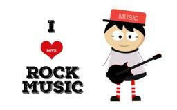 Κιθάρα παιχνιδιού αγοριών και μουσική ροκ αγάπης Στοκ Εικόνες