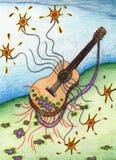 Κιθάρα σε ένα τοπίο λουλουδιών στοκ εικόνα