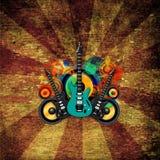 Κιθάρα Grunge και απεικόνιση ομιλητών Στοκ Εικόνες