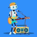 Κιθάρες παιχνιδιού ρομπότ και τραγούδι στο διάνυσμα οδών απομονωμένη ωθώντας s κουμπιών γυναίκα έναρξης χεριών απεικόνιση ελεύθερη απεικόνιση δικαιώματος
