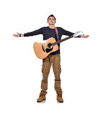 Κιθαρίστας με την κίτρινη ακουστική κιθάρα Στοκ φωτογραφία με δικαίωμα ελεύθερης χρήσης