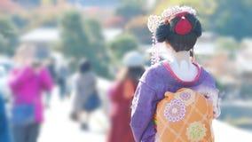 Κιμονό και το ιαπωνικό κορίτσι στοκ εικόνες