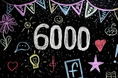 κιμωλία 6 000 που επισύρει την προσοχή στον πίνακα Στοκ Φωτογραφίες