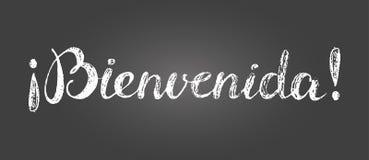 Κιμωλία που γράφει την ευπρόσδεκτη επιγραφή στα ισπανικά Στοκ φωτογραφία με δικαίωμα ελεύθερης χρήσης
