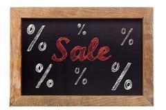 Κιμωλία πώλησης που γράφει με τα σημάδια ποσοστού στον πίνακα κιμωλίας Στοκ φωτογραφία με δικαίωμα ελεύθερης χρήσης