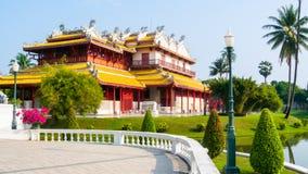 Κινέζικα που χτίζουν το υπαίθριο κτύπημα PA άποψης στο πάρκο Ayutthaya Στοκ Εικόνες