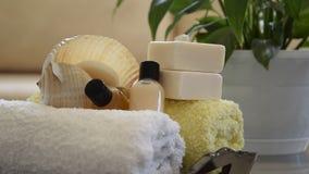 Κινήσεις καμερών κατά μήκος των προϊόντων επεξεργασίας wellness SPA