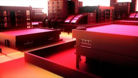 Κινήσεις καμερών μέσω της αφηρημένης κόκκινης πόλης Ζωτικότητα Loopable απόθεμα βίντεο