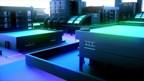 Κινήσεις καμερών μέσω της αφηρημένης μπλε πόλης Ζωτικότητα Loopable απόθεμα βίντεο