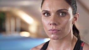 Κινήσεις καμερών προς το όμορφο πρόσωπο γυναικών Οι βέβαιοι θηλυκοί μαχητές κοιτάζουν Έννοια της γεμάτης αυτοπεποίθηση γυναίκας απόθεμα βίντεο