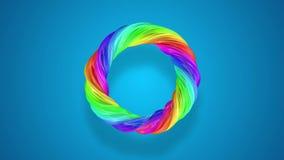 Κινήσεις ροής χρωμάτων σε έναν κύκλο Αφηρημένο ζωηρόχρωμο δημιουργικό υπόβαθρο με το ρεύμα των μικτών ελαιοχρωμάτων που διαμορφών φιλμ μικρού μήκους