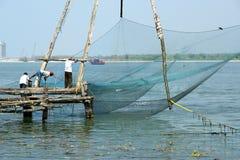 Κινεζικά δίχτια του ψαρέματος, Cochin, νότια Ινδία Στοκ Εικόνες