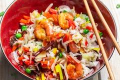 Κινεζικά λαχανικά και ρύζι μιγμάτων Στοκ Φωτογραφία