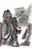 Κινεζικά βουνά τοπίων ζωγραφικής ελεύθερη απεικόνιση δικαιώματος